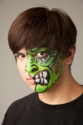 Green Face painted
